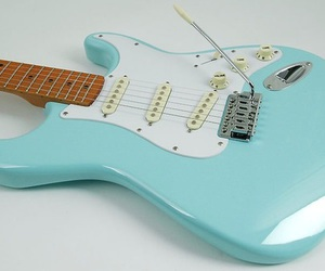 blue, electric guitar, and shiny image