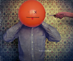 balloon, eyes, and hand image