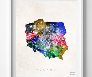 map, Poland, and print image