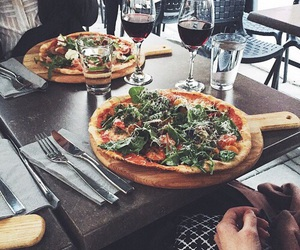 food, pizza, and wine image