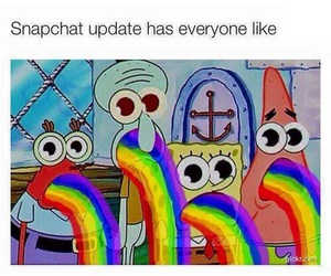 rainbow, snapchat, and spongebob image