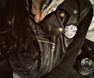 leather, brunette, and fashion image