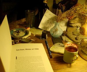 book, cup, and desk image