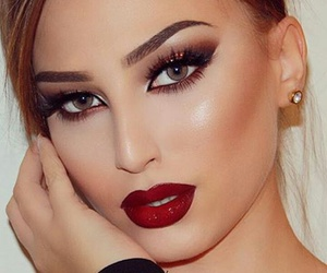 elegant, makeup, and red lips image