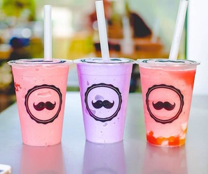 drink, mustache, and colorful image