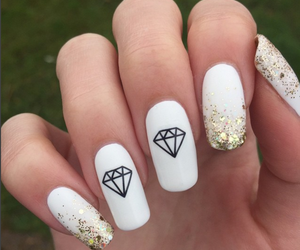 nails, diamond, and white image