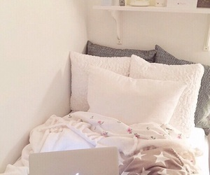 bedroom, apple, and pillow image