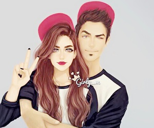 girly_m, couple, and art image