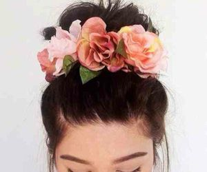 flowers, hair, and bun image