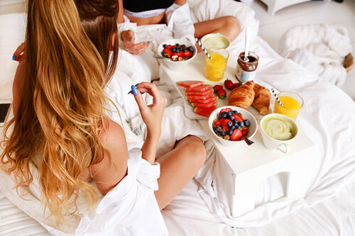 girl, breakfast, and food image