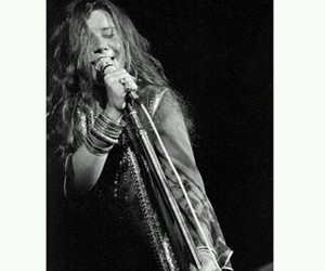 black and white, concert, and janis joplin image