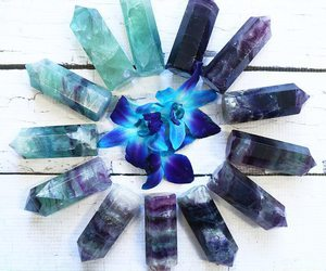 crystal, blue, and flowers image