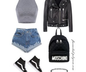 backpack, Moschino, and shorts image