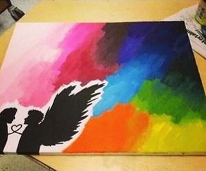 angel, wings, and rainbow image