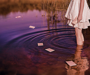 girl, letters, and water image