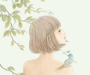 girl and bird image