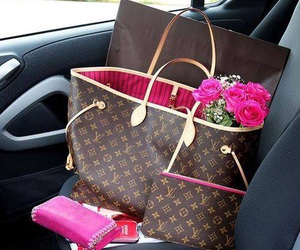 bag, Louis Vuitton, and flowers image