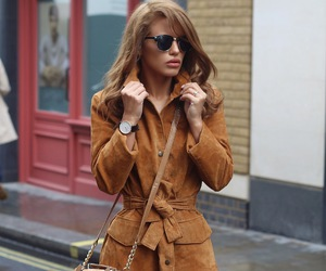 brunette, curly hair, and fashion image