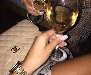 chanel, nails, and wine image