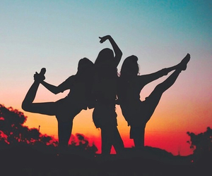 friends, sunset, and summer image
