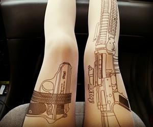 gun, tattoo, and tights image
