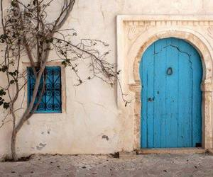 blue, door, and vintage image