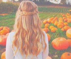 autumn, hair, and pumpkin image