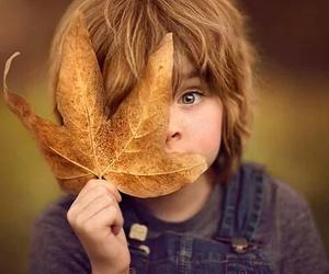 child, autumn, and leaf image