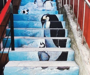 penguin, stairs, and street image