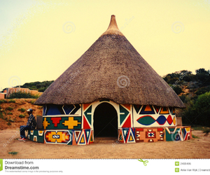 African, huts, and traditional image
