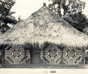 African, black and white, and traditional huts image