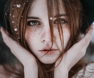 girl, snow, and beauty image