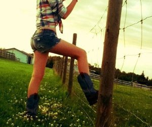boots, Cowgirl, and fence image