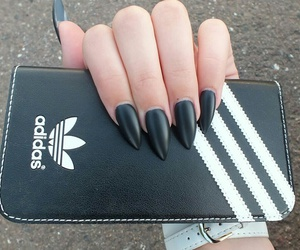 adidas, black, and blacknails image