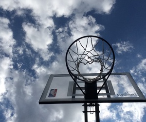 Basketball, net, and spalding image
