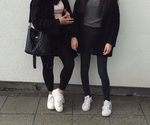 adidas, black and white, and two girls image