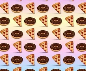 pizza, donuts, and wallpaper image