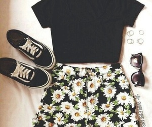 outfit, flowers, and black image