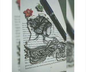 book, doodle, and girl image
