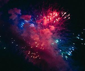 fireworks, sky, and blue image