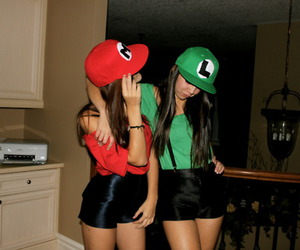 girl, mario, and luigi image