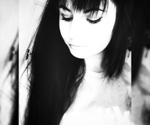 black and white, hairs, and eyes image