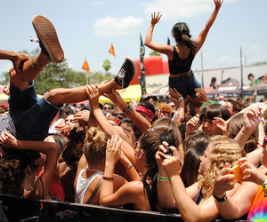 concert, crowd, and crowd surfing image
