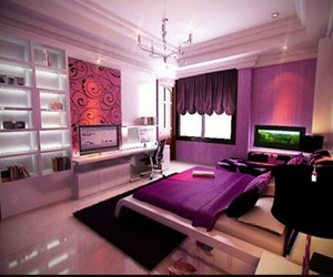 room, purple, and bedroom image