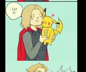 thor, funny, and pikachu image