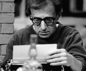 black and white and woody allen image