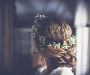 hair and flower crown image