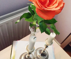 candle, flower, and flowers image