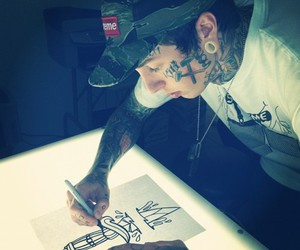 boy, Tattoos, and drawing image