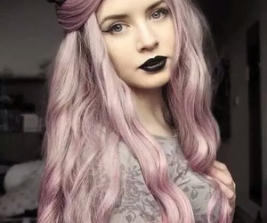 hair, black, and pink image